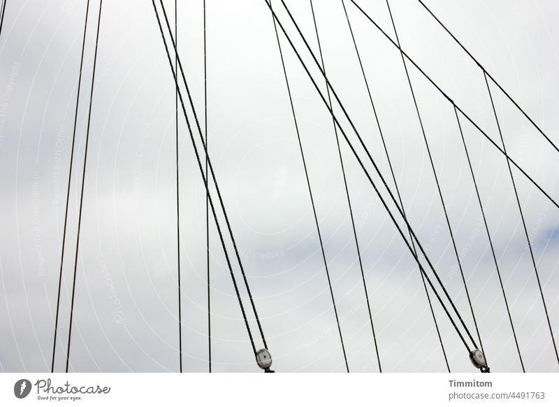 Lines - rigging of a sailing ship Rigging Lashings Sailing ship Navigation Rope Roll lines Sky Clouds Denmark Exterior shot