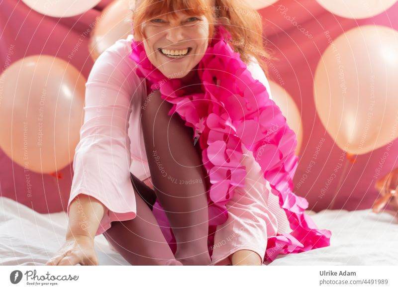 Party Feeling in Pink - Woman in pink clothes having fun 😀 Adults Interior shot Human being Feminine Red-haired Laughter Happiness Happy Joy Smiling