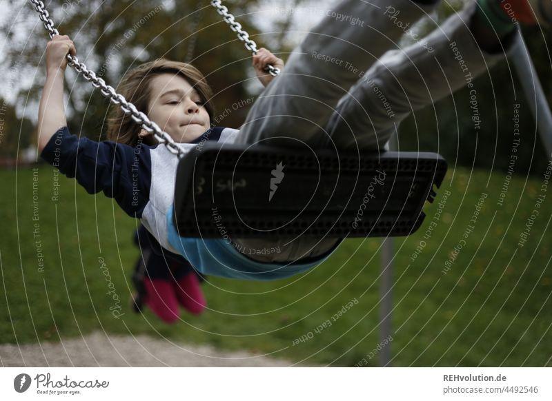 Child Schaukelt Infancy Playing Swing To swing Boy (child) naturally Joy Happy fun Playground Movement Day Leisure and hobbies Children's game