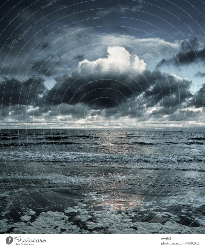 Sky Nature Water Ocean Clouds Far-off places Environment Movement Coast Horizon Weather Waves Idyll Climate Large Beautiful weather