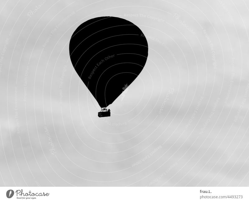 With the hot air balloon Sky Flying Newspaper Photomontage on one's own Human being Handbag Crooked Hat Coat Woman Old Stand Adventure courageous Curiosity