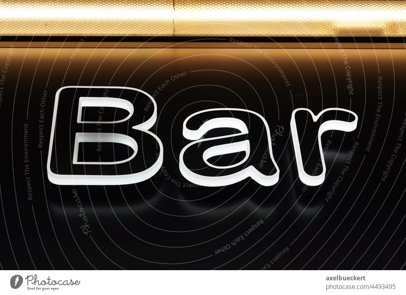 illuminated bar neon sign Bar Signs and labeling Lighting Illuminated Characters Word Neon light Night life Roadhouse Restaurant Neon sign