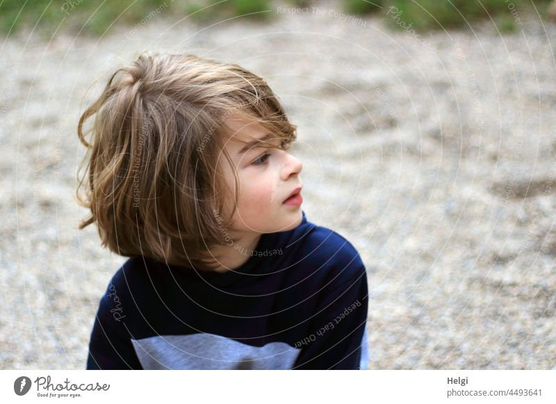 Portrait of a boy with half-length dark blond hair looking to the side Child Human being Boy (child) Schoolchild portrait View to the side Upper body
