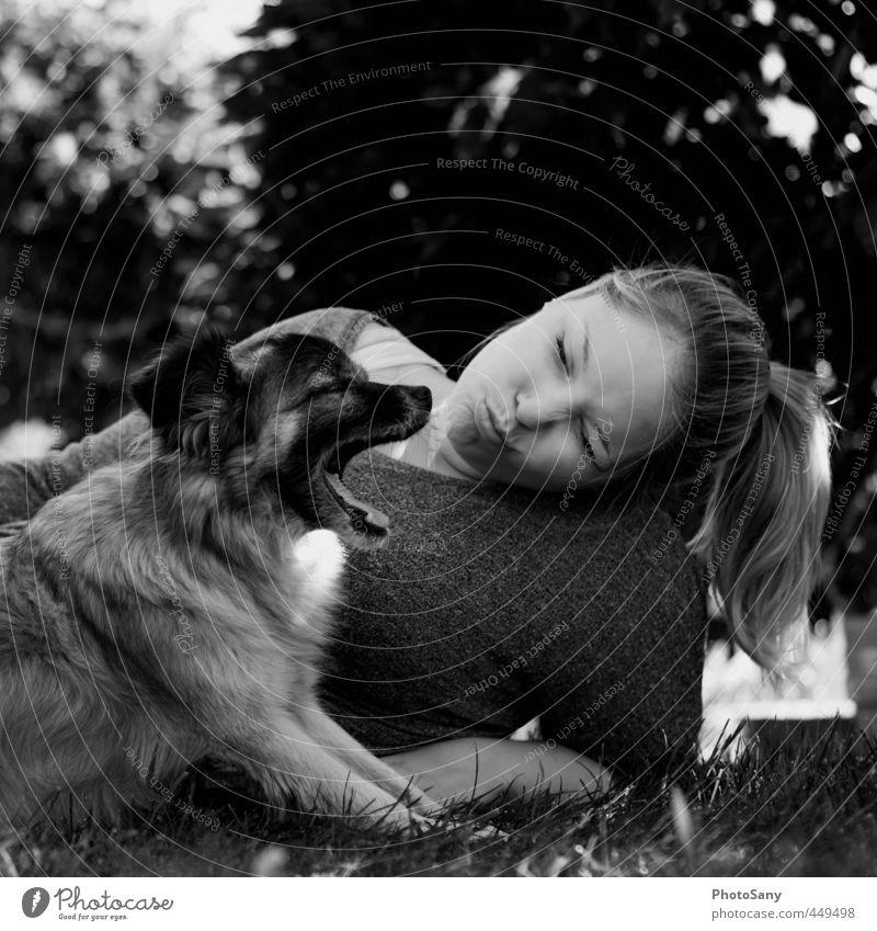 little stinker. Feminine Head Hair and hairstyles 1 Human being Pet Dog Animal Lie Black Emotions Friendship Relationship Woman Black & white photo