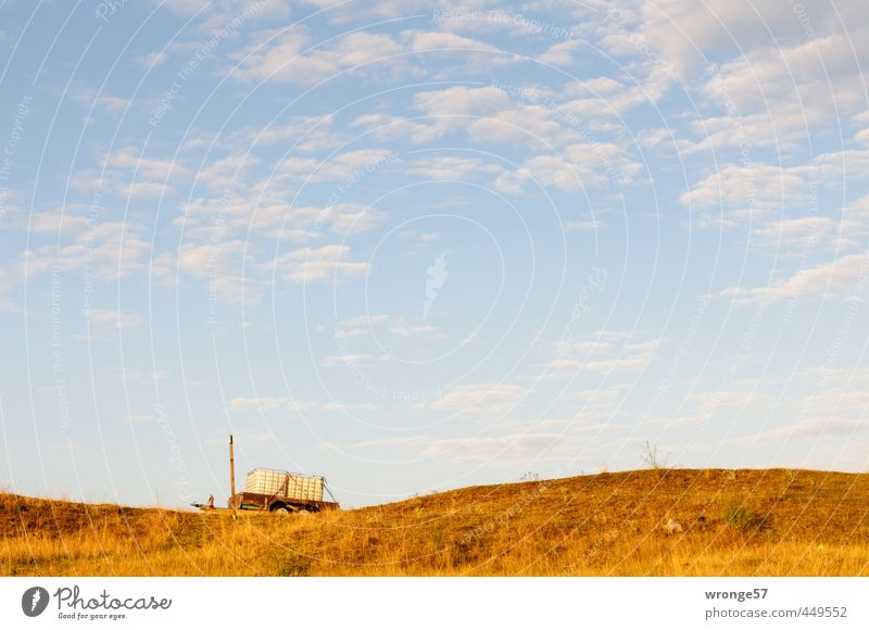 water wagon Landscape Sky Clouds Horizon Beautiful weather Grass Meadow Hill Trailer Blue Brown Sky blue Carriage Water container Tank Dawn Colour photo
