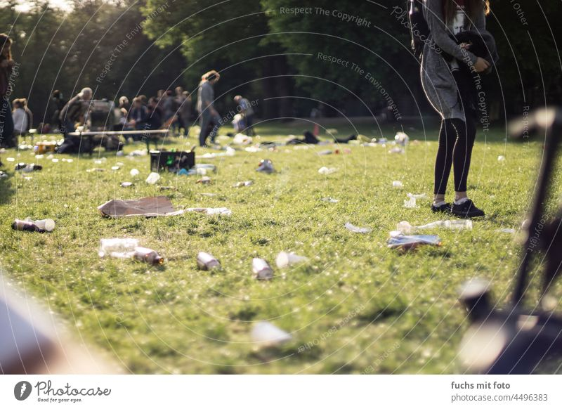 Festival on a meadow Trash canned beer festival Party outdoor Summer Meadow filth celebrations Feasts & Celebrations Event Dirty Colour photo Happiness
