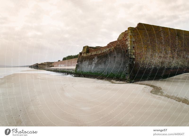 Old City Beach Dark Wall (building) Wall (barrier) Coast Brown Germany Facade Europe Island Derelict Manmade structures Decline Baltic Sea