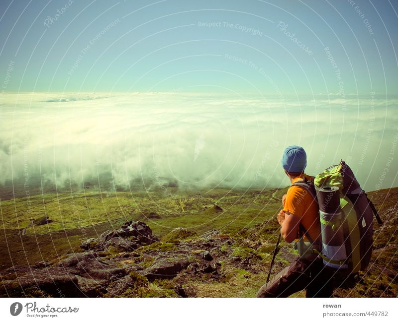 Human being Youth (Young adults) Man Vacation & Travel Summer Relaxation Calm Clouds Far-off places Young man Adults Mountain Freedom Masculine Contentment Lifestyle