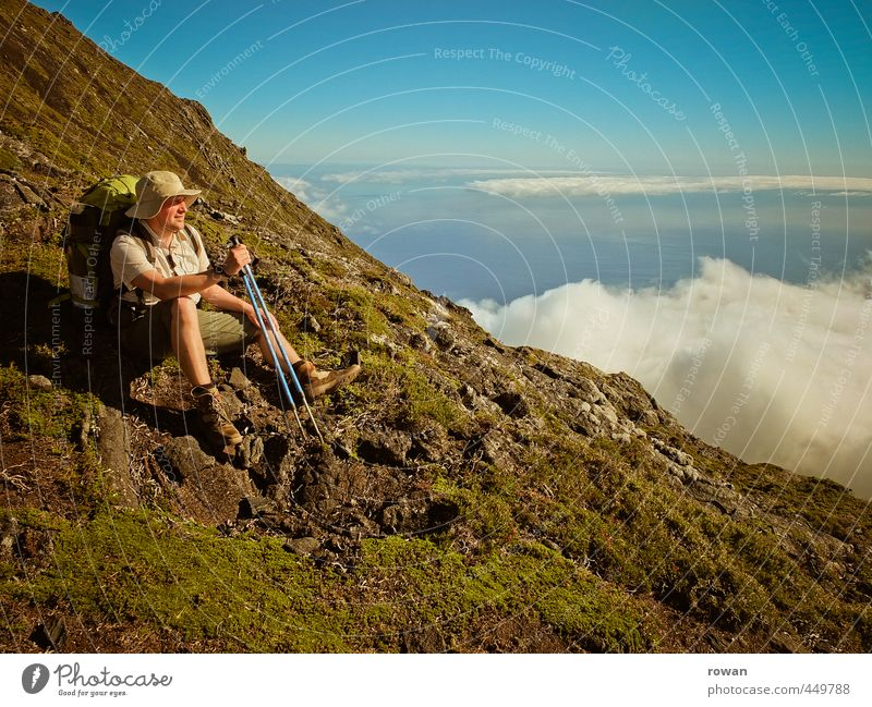 mountaineer Human being Masculine Young man Youth (Young adults) Man Adults Clouds Hill Rock Alps Mountain Peak Far-off places Free Happiness Happy Infinity