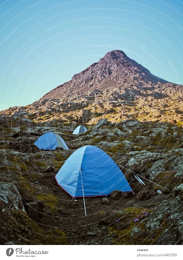bivouac Environment Nature Landscape Weather Hill Rock Alps Mountain Peak Blue Tent Tent camp Camping Hiking Bivouac Sleep Adventure Travel photography