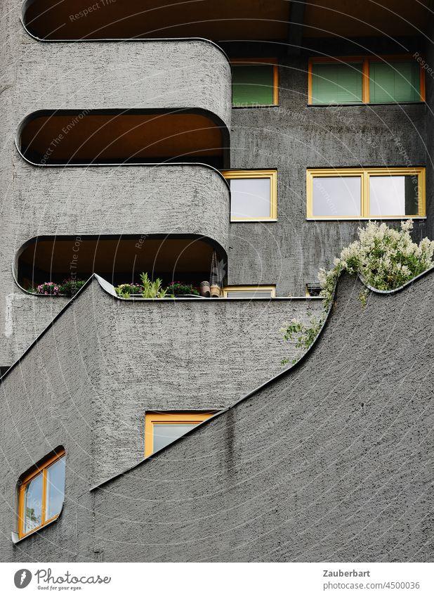 Grey facade with yellow window frames and balcony of a modern apartment building Facade Apartment Building Apartment house Gray Yellow Window Window frame
