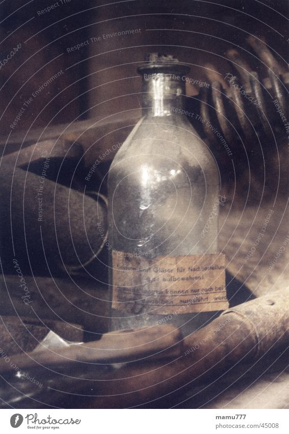 bottle old Tool Rust Craft (trade) Historic Brown Still Life Industry Bottle Old Glass Colour Moody