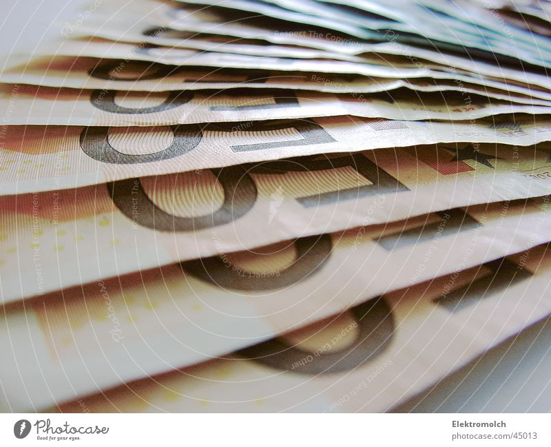 CA$H Money Bank note Euro bill Macro (Extreme close-up) Paper Luxury Rich Financial Industry Close-up Income Business 50 Heap Many Detail Section of image
