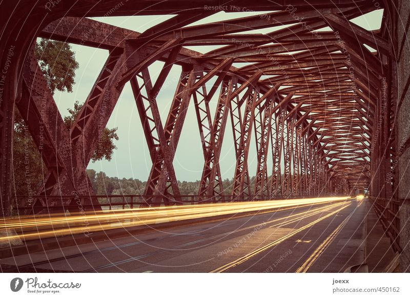 Old bridges Beautiful weather Bridge Street Driving Speed Brown Yellow Green Past Lanes & trails Target Colour photo Subdued colour Exterior shot Deserted
