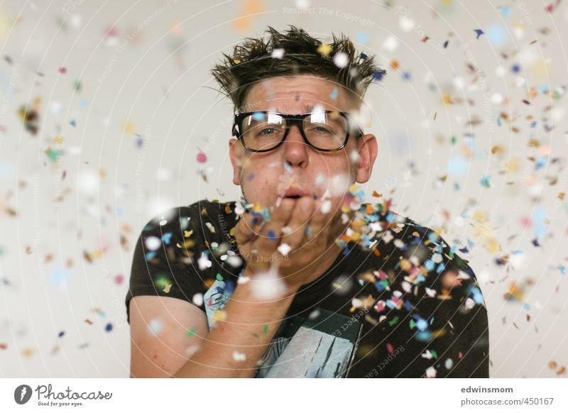 Confetti Party Joy Feasts & Celebrations Masculine Man Adults 1 Human being 30 - 45 years Artist Eyeglasses Decoration Kitsch Odds and ends Playing Stand
