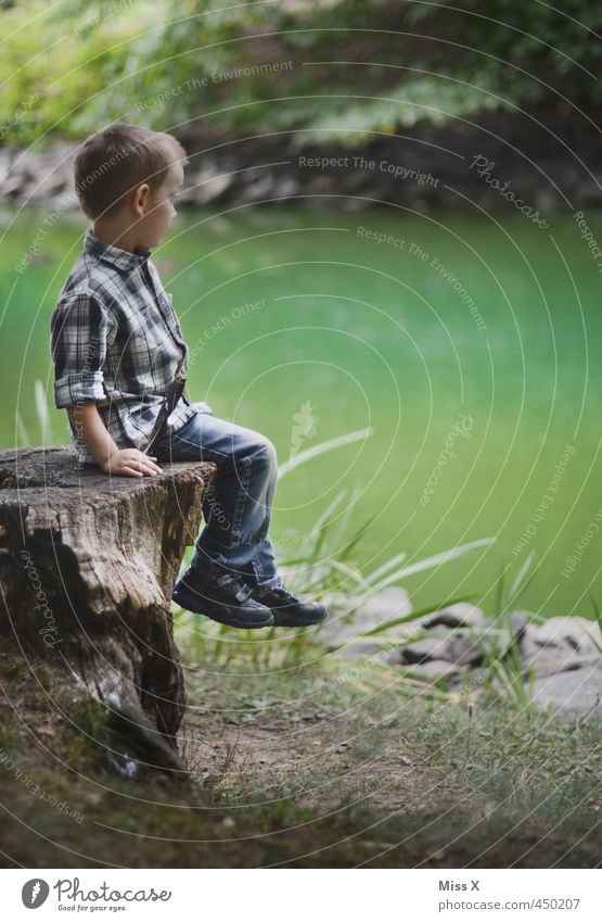 Human being Child Tree Calm Forest Boy (child) Coast Playing Moody Park Leisure and hobbies Idyll Infancy Sit Wait Trip