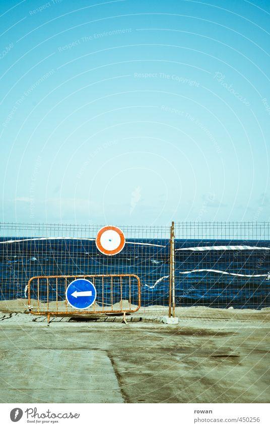 Blue Summer Ocean Warmth Street Coast Transport Signs and labeling Concrete Signage Asphalt Fence Barrier Traffic infrastructure Motoring Grating