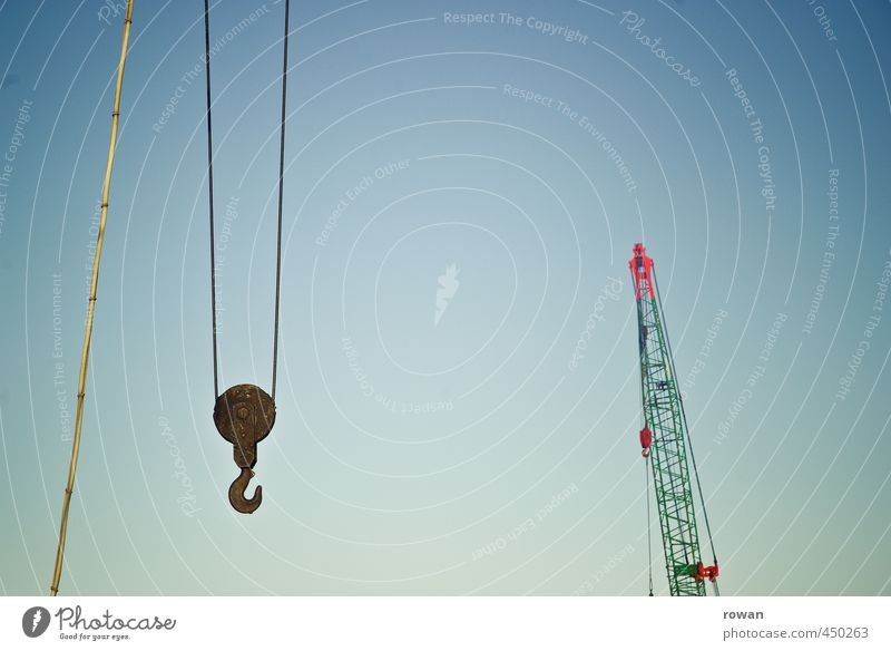 cranes Tool Technology Industry Old Crane Consign Checkmark Logistics Lift Hang Weight Heavy Construction site Colour photo Deserted Copy Space top