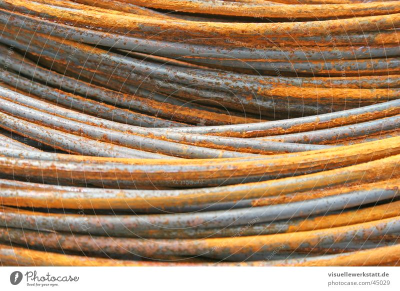 rusty steel snakes ... Steel Material Construction site Craft (trade) Concrete Male preserve Hard Industry Rust