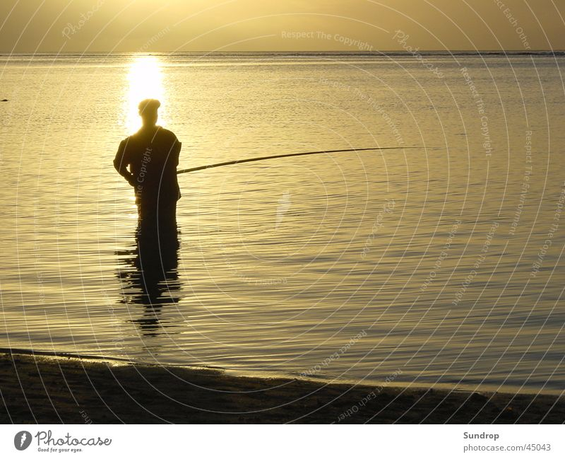 Anglers in Mauritius Beach Sunset Vacation & Travel Water