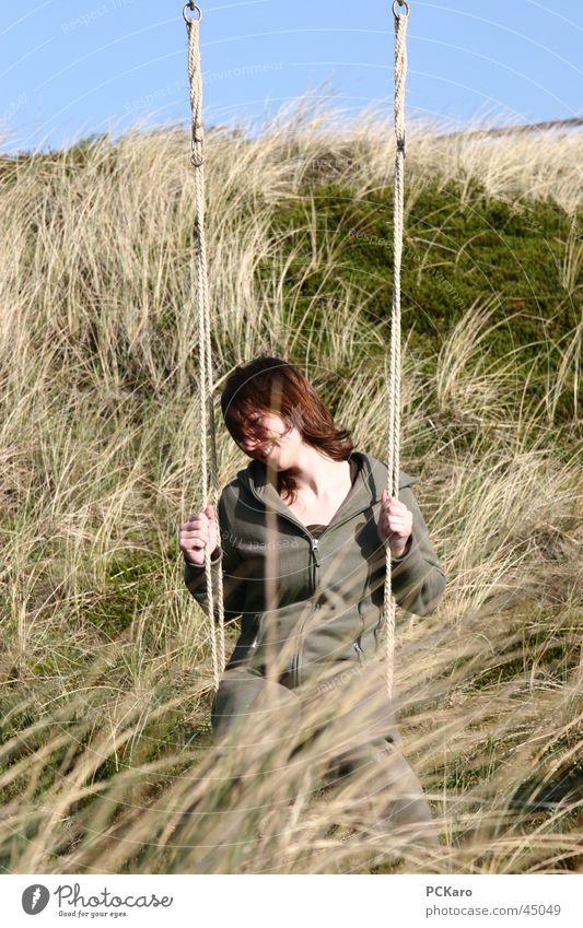 dune swing Swing Sylt Woman Grass Meadow Straw Vacation & Travel Calm Romance Beach dune Wind