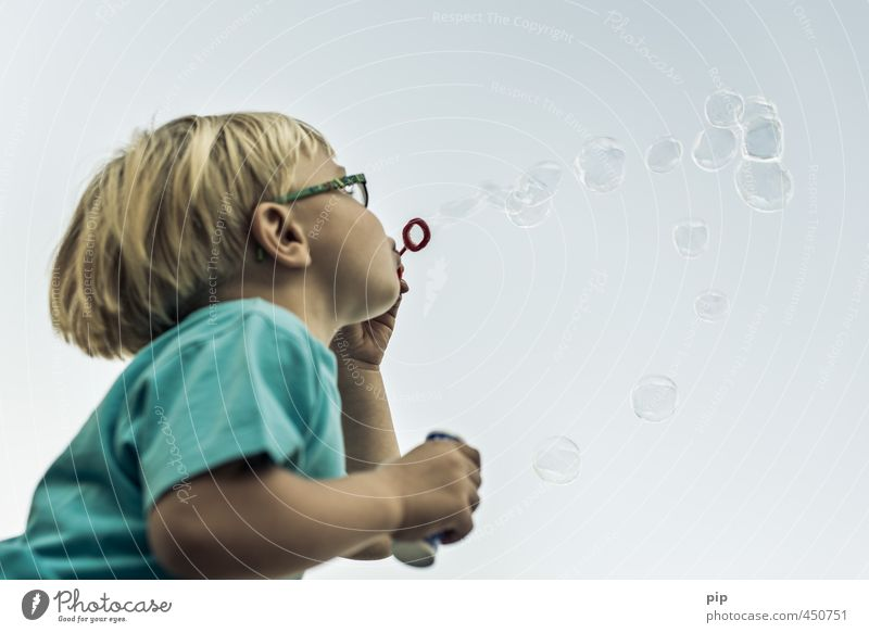 bubble fun Child 1 Human being Playing Blonde Joy Infancy Transience Soap bubble Blow Eyeglasses Bursting Flying Sphere Bubble Surface tension Fleeting