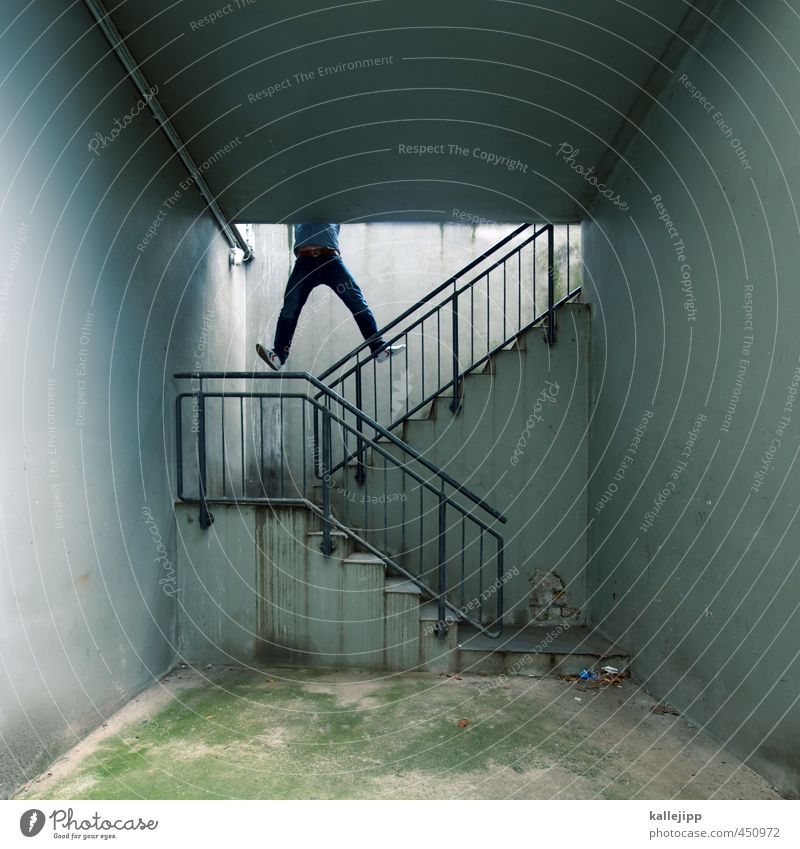 abbreviation Human being Masculine Man Adults Fear Stairs Hang Climbing Shaft Parkour To hold on Pull-up Colour photo Subdued colour Exterior shot Light Shadow