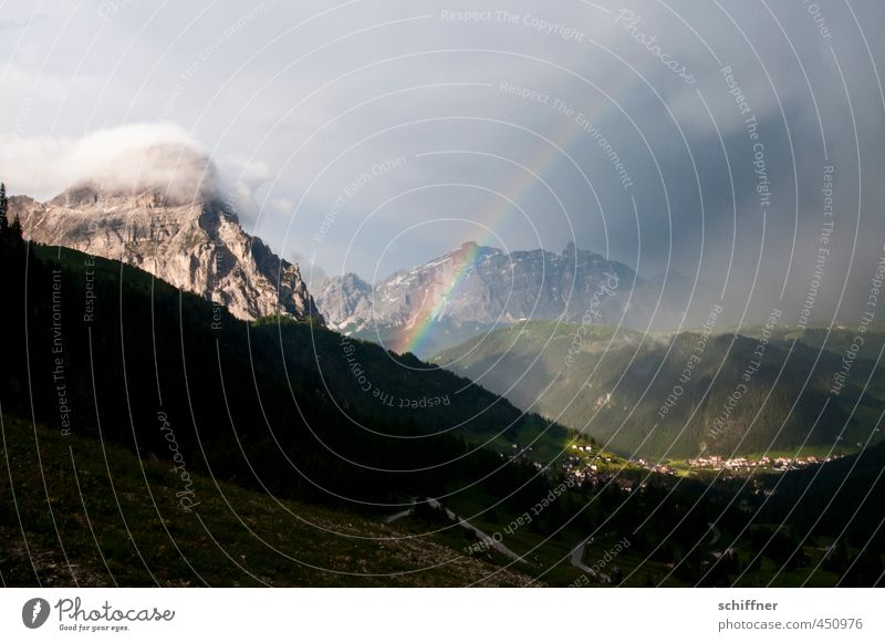 Nature Landscape Environment Mountain Exceptional Rock Weather Beautiful weather Alps Snowcapped peak Storm Gale Thunder and lightning Rainbow South Tyrol Bad weather