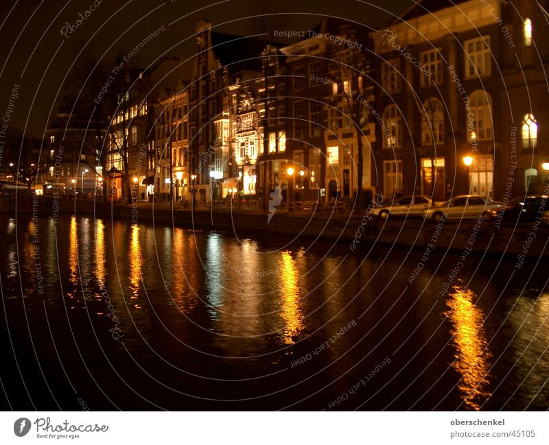 Amsterdam at night Dark House (Residential Structure) Waterway Europe Sewer water reflection