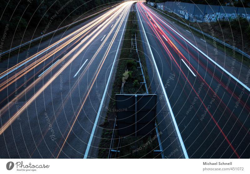 web light lines Transport Traffic infrastructure Motoring Highway Speed Rear light Light (Natural Phenomenon) Lighting effect Colour photo Exterior shot