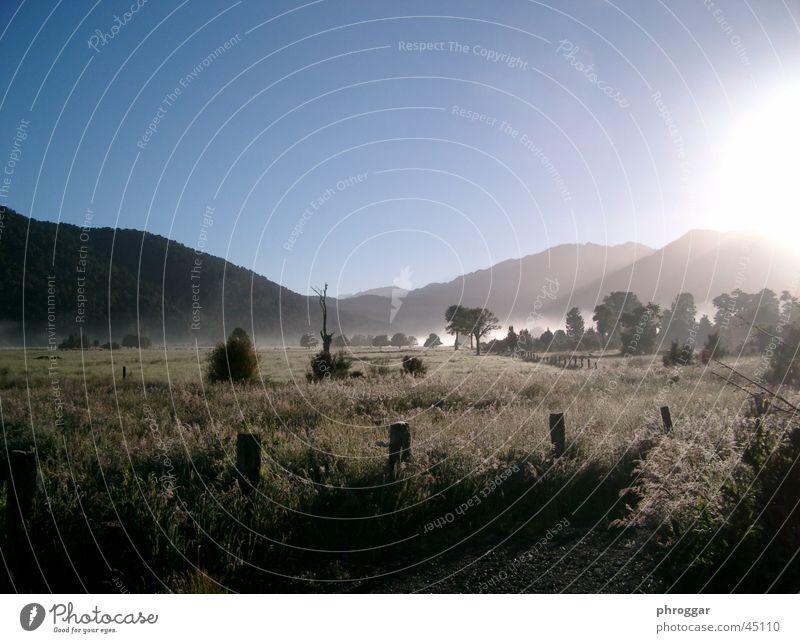 Sun Calm Meadow Fog Valley