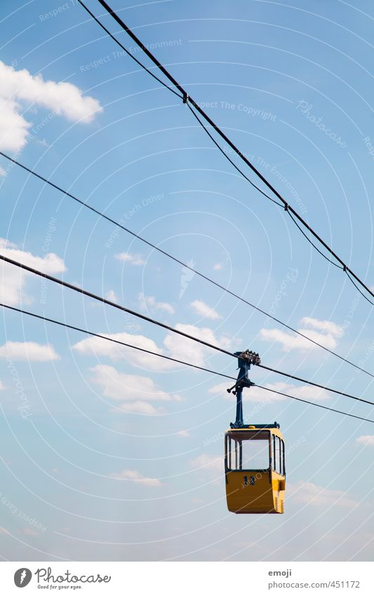 Sky Blue Yellow Tourism Aviation Passenger traffic Means of transport Cable car Sky only