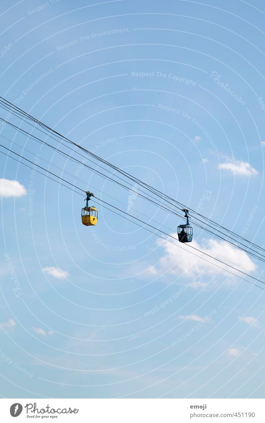 2 Environment Nature Sky Sky only Cloudless sky Summer Blue Leisure and hobbies Gondola Cable car Tourism Colour photo Exterior shot Deserted Copy Space top