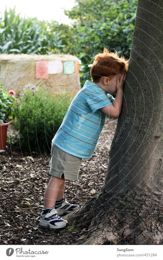 Human being Child Nature Summer Joy Boy (child) Playing Masculine Infancy Stand Beautiful weather Cute Hide Toddler Tree trunk Red-haired
