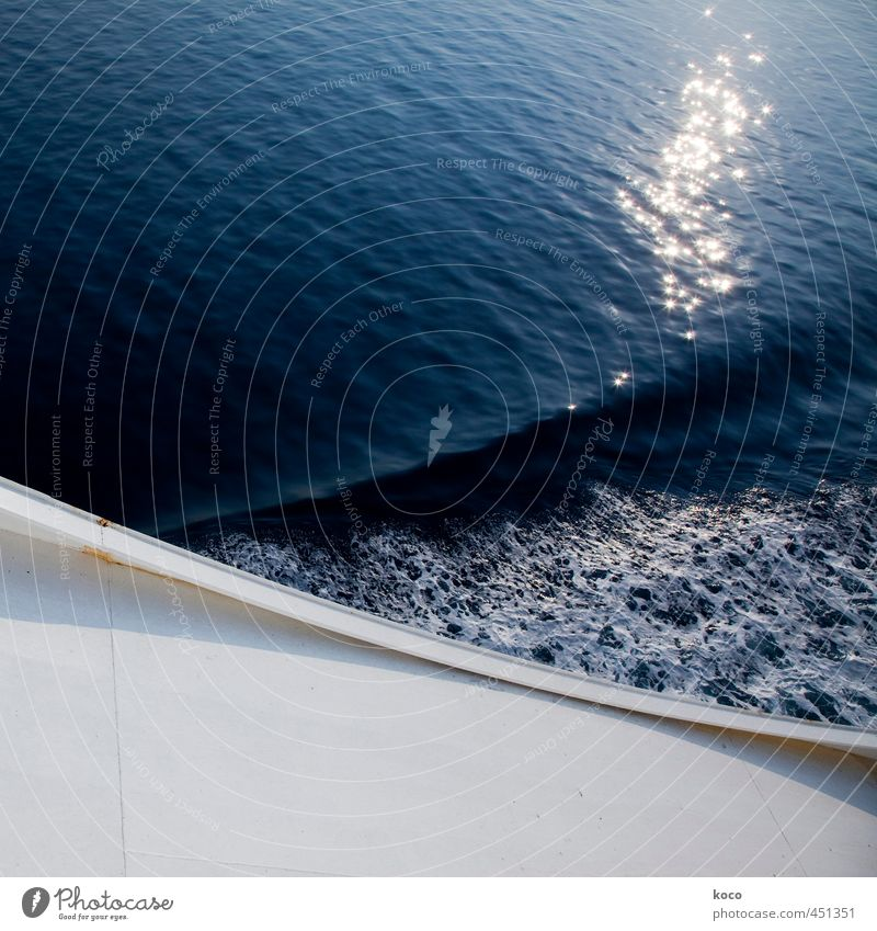 Bow wave (... with glitter :-) Nature Water Sunlight Summer Beautiful weather Waves Ocean Navigation On board Watercraft Metal Line Glittering