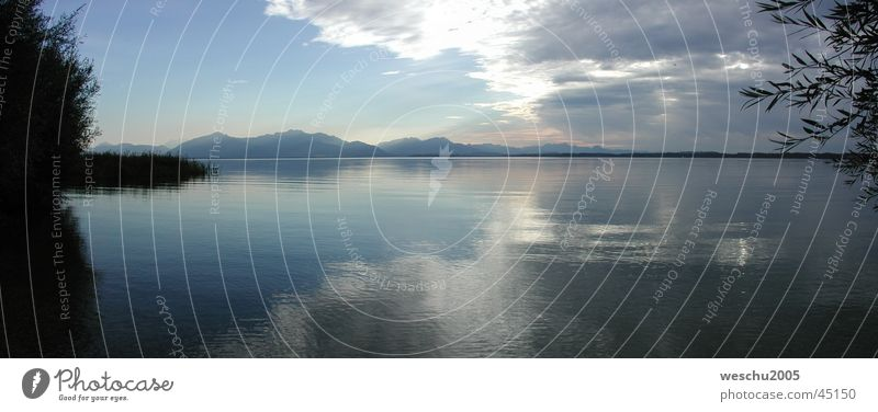 Evening atmosphere at Lake Chiemsee Clouds Bavaria Moody panorama Water
