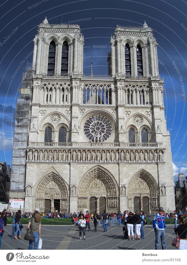 Blue Clouds Dark Religion and faith Architecture Tower Paris Thunder and lightning Notre Dame