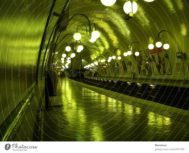 metro station Underground Green Railroad tracks Tunnel Lantern Dark Paris Transport Cellar arch Light