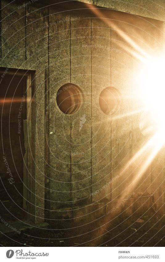 backlight Manmade structures Building Architecture Wall (barrier) Wall (building) Facade Window Door Old Creepy Retro Gloomy Town Green Dazzle Entrance