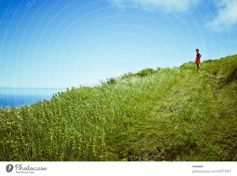 Human being Woman Sky Nature Youth (Young adults) Green Ocean Loneliness Young woman Landscape Far-off places Adults Environment Mountain Meadow Feminine