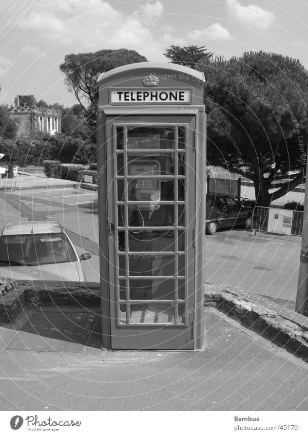 rrrriiiing Telephone Phone box Cubbyhole Things Driver's cab Black & white photo