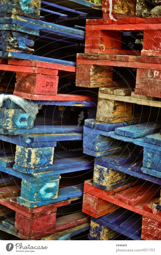 pallets Palett Blue Red Wood Stack Logistics Packaging Colour Stock of merchandise Storage Colour photo