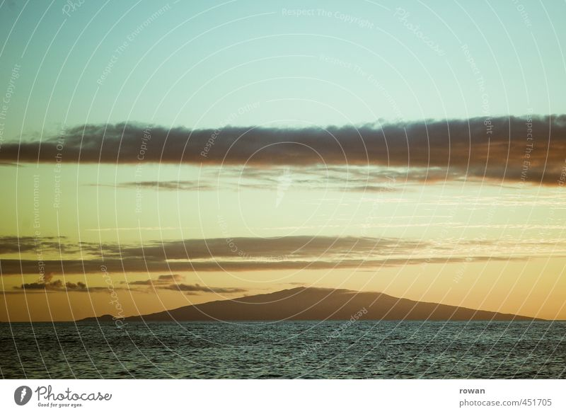 Evening Environment Nature Landscape Sky Clouds Beautiful weather Mountain Waves Coast Ocean Island Warmth Contemplative Relaxation Sunset Romance Colour photo