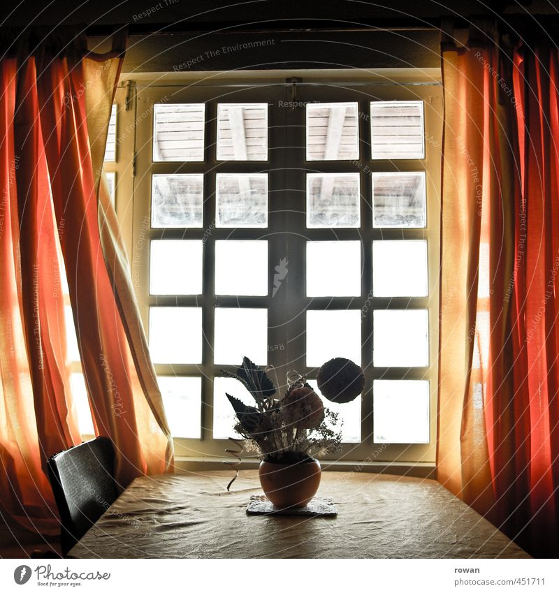 at grandpa's House (Residential Structure) Detached house Building Architecture Window Red Drape Chair Table Flower Flower vase Decoration Illuminate Orange