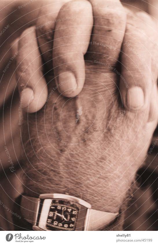hands Hand Clock Fingers Man Old Wrinkles