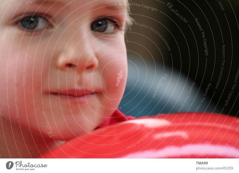 I think so I am. Child Think Red Thought Portrait photograph Face Brash Ball