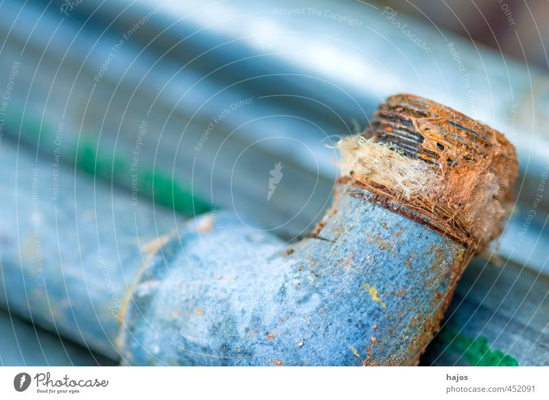 old water pipe with defective seal Craftsperson Craft (trade) Industry Rust Old Water pipe lead pipe defective Seal leaky Scrap metal Installations accessories
