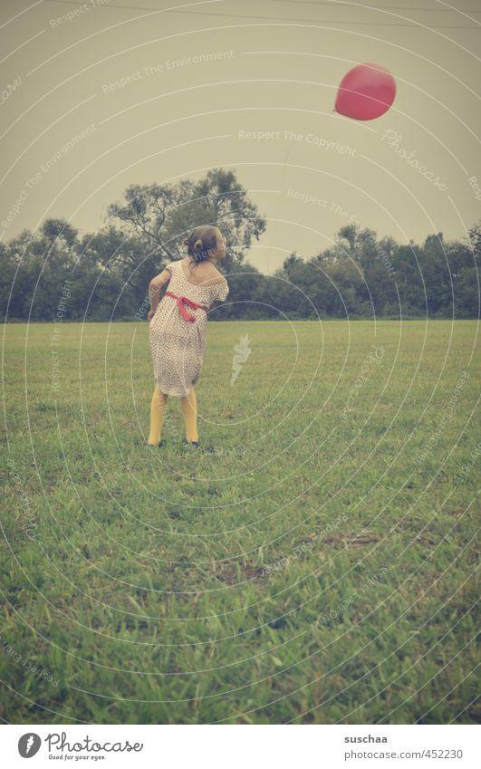 Human being Sky Child Summer Girl Environment Meadow Feminine Grass Field Wild Aviation Infancy Retro Balloon Athletic
