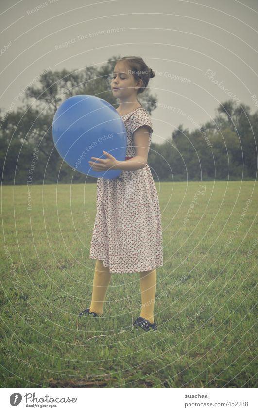 the blue balloon ... Child Girl Dress Arm Legs Hand Exterior shot Playing Meadow Grass Balloon Blue Retro