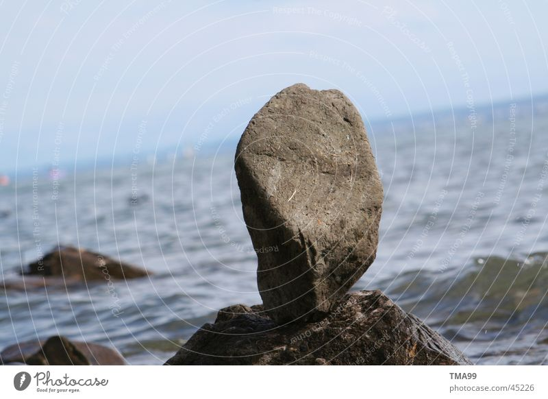 stone on stone Waves Horizon Lake Ocean Stone Lake Constance Blue Water Sky